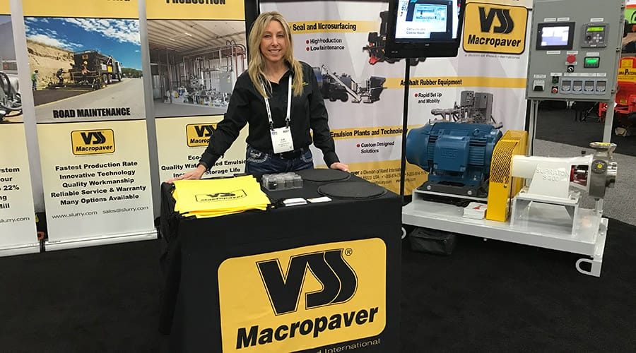 World of Asphalt 2018 - Sue Sasse at the VSS Macropaver booth with the XD 100SX Emulsion Plant Mill Skid: