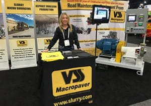 World of Asphalt 2018- Sue Sasse at the VSS Macropaver booth with the XD 100SX Emulsion Plant Mill Skid
